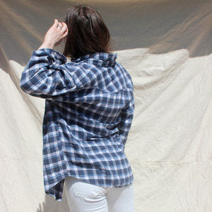 Vintage Blue Plaid Button Up Flannel Shirt